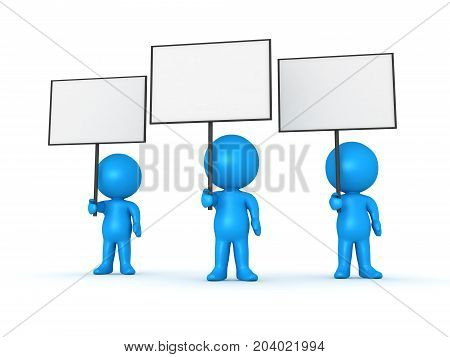Three light blue 3D Characters holding blank sign placard. Isolated on white.
