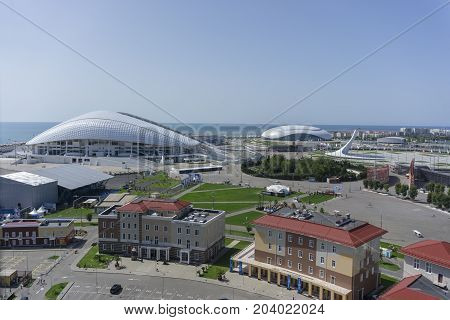 Sochi, Russia - September 11, 2017: Stadium Fisht and Bolshoy Ice Dome at the Olympic Park on September 11, 2017