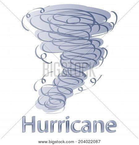 Hand Drawn Hurricane with Lightnings isolated on White. Vector Doodle Drawings.