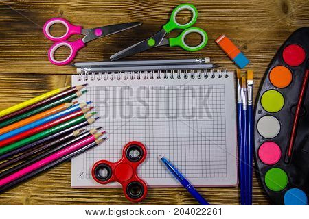 Set Of School Stationery Supplies. Back To School Concept