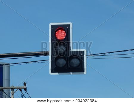 Traffic lights, red lights sign the car must stop.