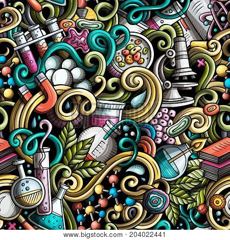 Cartoon cute doodles hand drawn Science seamless pattern. Color detailed, with lots of objects background. Endless funny vector illustration with laboratory symbols and items