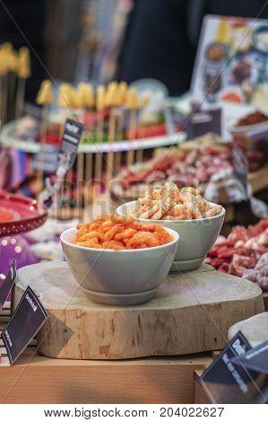 Shrimps displayed on the food festival in Utrecht, The Netherlands