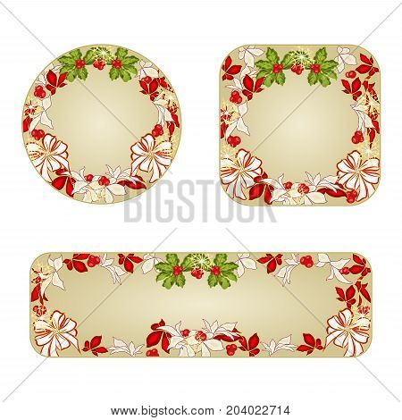 Banner and buttons Christmas decorations white bows and poinsettia vintage vector illustration editable hand draw