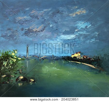 The sky is overcast the River City scatch oil painting - Modern Art - Expressionism