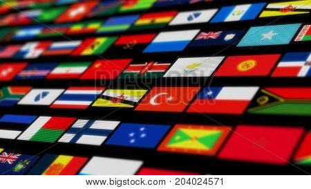 Many small flags with stars and stripes isolated on black background. 3d illustration. Focus shallow depth of field