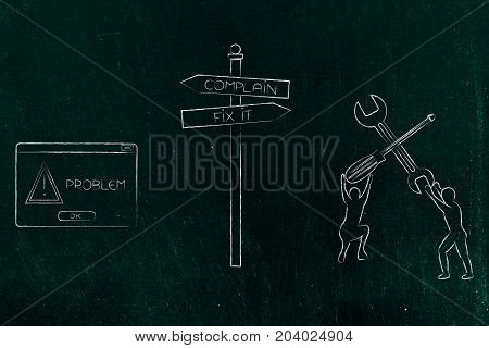 Road Sign Fix Or Complain In Front Of A Problem, With Pop-up And Men Lifting A Wrench