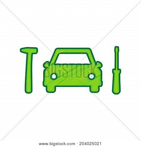 Car tire repair service sign. Vector. Lemon scribble icon on white background. Isolated