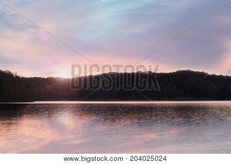 Beautiful sunrise over the hills at Lake Cumberland Kentucky.