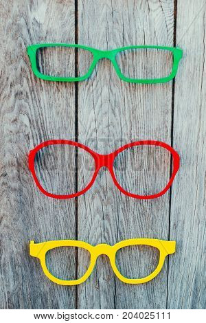 Colored Glasses Frames Placed On A Display For Sale