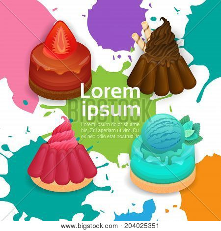 Panna Cotta Set Different Taste Dessert Colorful Poster Vector Illustration