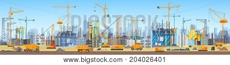 Wide head banner of city construction process. Tower cranes on construction site. Buildings under construction
