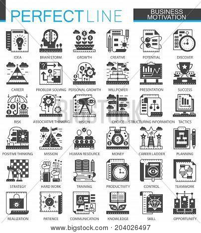 Business motivation classic black mini concept symbols. Finance discipline modern icon pictogram vector illustrations set
