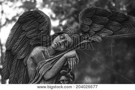 Sculpture of angel on cementary in monochrome