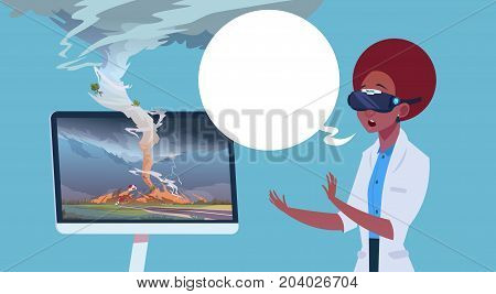 African American Woman In Virtual 3d Glasses Watching Broadcast Of Tornado Hurricane Damage News About Storm Waterspout In Countryside Natural Disaster Concept Flat Vector Illustration