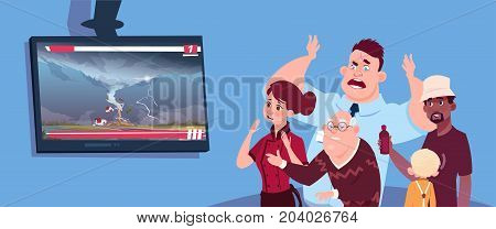 Scared People Watching News About Twisting Tornado Hurricane In USA Storm Waterspout In Countryside Natural Disaster Concept Flat Vector Illustration