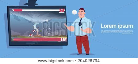 Man Leading Live TV Broadcast About Tornado Destroying Farm Hurricane Damage News Of Storm Waterspout In Countryside Natural Disaster Concept Flat Vector Illustration