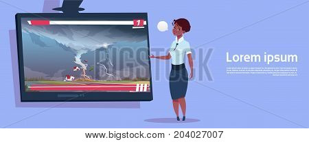 African American Woman Leading Live TV Broadcast About Tornado Destroying Farm Hurricane Damage News Of Storm Waterspout In Countryside Natural Disaster Concept Flat Vector Illustration