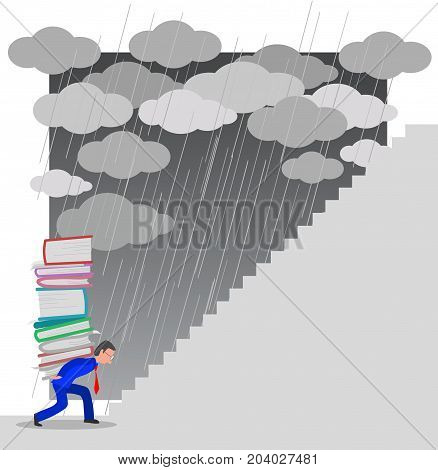 Very busy manager trying to climb a staircase under the storm, concept illustration