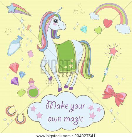 Stickers Set with Unicorns icons. Vector unicorn set