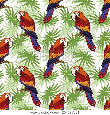 Seamless Pattern, Tropical Landscape, Colorful Parrots on Green Leaves Exotic Plants, Tile Background. Vector