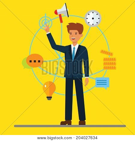 Young cartoon businessman and digital modern business background. Global partnership, wirelless technology, blockchain system. Vector illustration