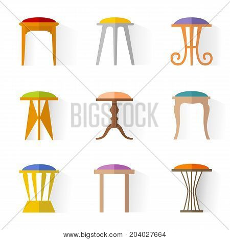 Stools vector. A set of icons of various tabouret, in a flat style. Illustration.