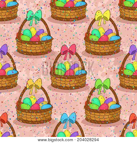 Seamless Pattern, Basket with Colorful Painted Chicken Eggs and Red Bow on the Handle. Easter Holiday Tile Background. Vector
