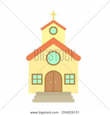 Church icon in flat style. Church isolated on background. Vector stock.