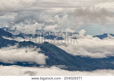 the Andes in Ecuador engulfed in clouds