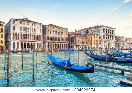 The famous Grand Canal with gondolas in Venice, Italy. Grand Canal is one of the major water-traffic corridors and tourist attraction in Venice.