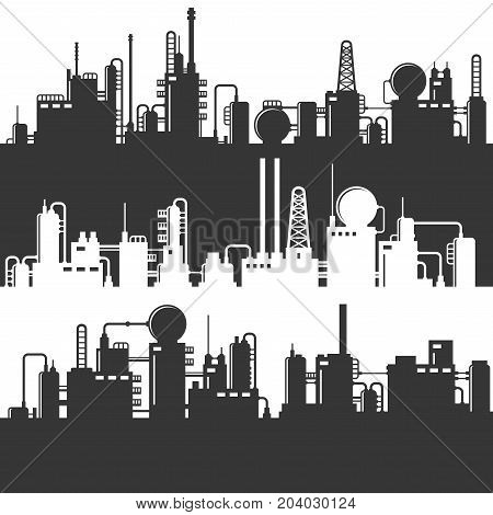 Oil and Gas Refinery Power Plant Silhouette. Pattern Set
