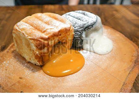 bun or bread with taro stuffed and bread with milk tea stuffed