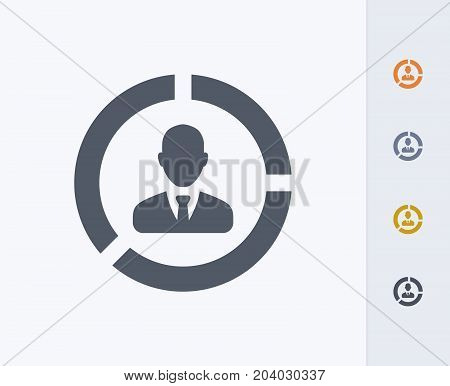Business Avatar Graph - Carbon Icons. A professional, pixel-perfect icon designed on a 32x32 pixel grid and redesigned on a 16x16 pixel grid for very small sizes