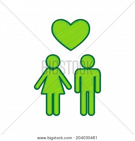Family symbol with heart. Husband and wife are kept each other's hands. Love. Vector. Lemon scribble icon on white background. Isolated