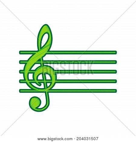 Music violin clef sign. G-clef. Vector. Lemon scribble icon on white background. Isolated