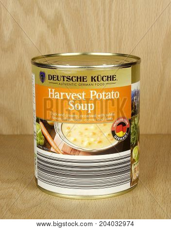 RIVER FALLS,WISCONSIN-SEPTEMBER 12,2017: A can of Harvest Potato soup made in Germany with a wood background.