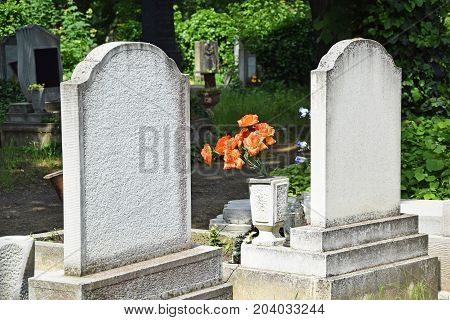 Tombstones in the Public cemtery in summer