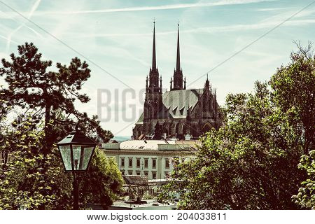 Cathedral of St. Peter and Paul in Brno Moravia Czech republic. Religious architecture. Beautiful place. Retro photo filter.