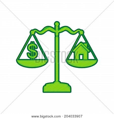 House and dollar symbol on scales. Vector. Lemon scribble icon on white background. Isolated