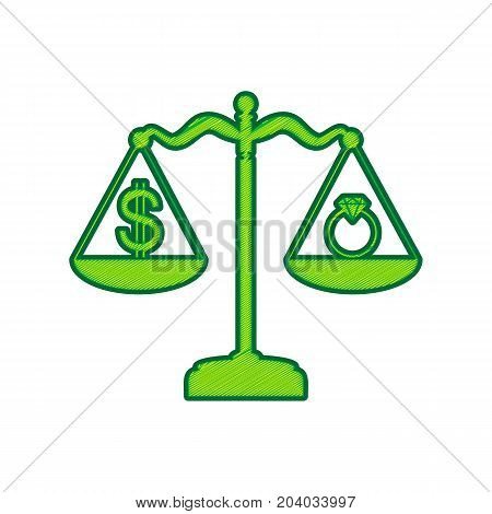 Ring jewelery and dollar symbol on scales. Vector. Lemon scribble icon on white background. Isolated