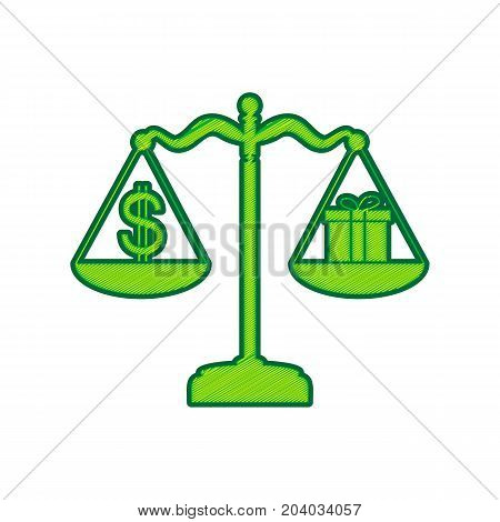 Gift and dollar symbol on scales. Vector. Lemon scribble icon on white background. Isolated