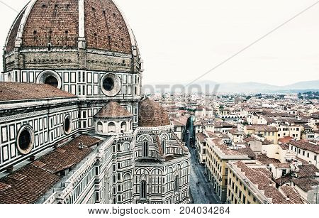 Cathedral Santa Maria del Fiore in Florence Tuscany Italy. Cradle of the renaissance. Travel destination. Retro photo filter.