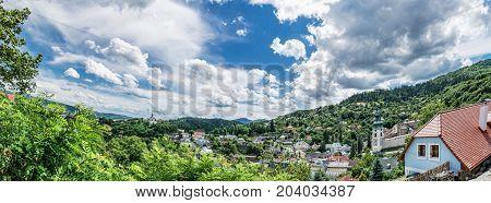 Panoramic photo of Banska Stiavnica with New castle and Old castle Slovak republic. Travel destination. Beautiful urban landscape.