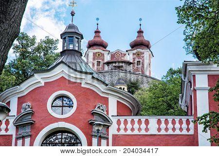 Calvary in old mining town Banska Stiavnica Slovak republic. Religious architecture. Travel destination.