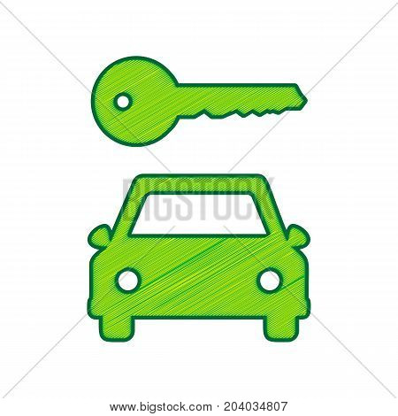 Car key simplistic sign. Vector. Lemon scribble icon on white background. Isolated