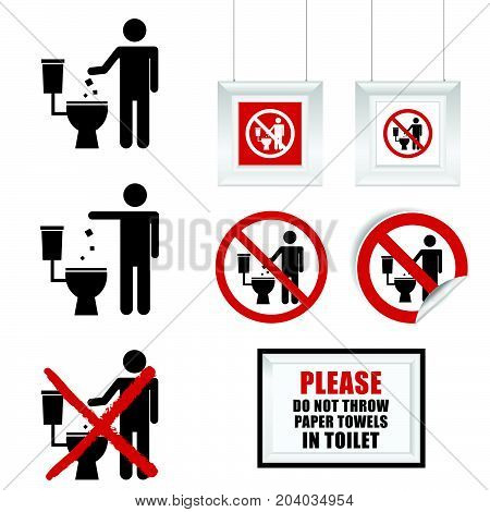 No Throw Paper Towels In Toilet Sign Set Illustration