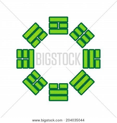 Bagua sign. Vector. Lemon scribble icon on white background. Isolated