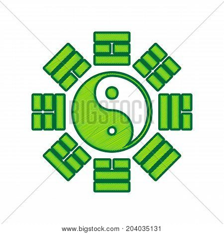 Yin and yang sign with bagua arrangement. Vector. Lemon scribble icon on white background. Isolated