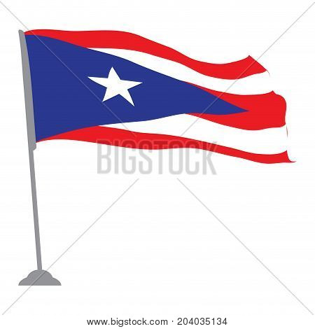 Isolated flag of Puerto Rico, Vector illustration